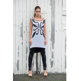 Stylish Black White Tunic/ Asymmetric Tunic/ Handmade Pattern/ Top