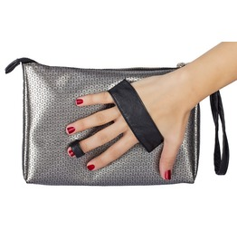Metallic Leather Clutch/Clutch Leather Handles/Sequins Pattern Bag