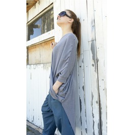Cotton Blouse / Oversize Tunic / Grey Loose Top / Maxi Blouse / Grey Top
