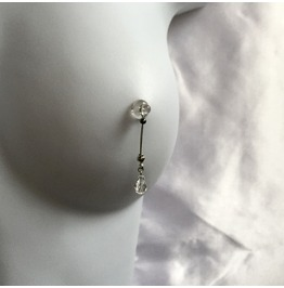 Nipple Noose | Stainless | Clear Crystal Teardrop | Hematite Stopper Ball