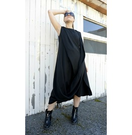 Black Kaftan / Long Black Dress / Sleeveless Dress / Long Tunic / Draped