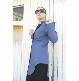 Extravagant Blue Cotton Shirt / Asymпetric Shirt / V Shaped Cutout Front