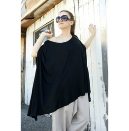 Maxi Black Top / Long Top / Asymmetric Top/ Black Tunic / Loose Black Tunic