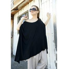 Maxi Black Top / Long Top / Asymmetric Top/ Black Tunic / Loose Black Tunic