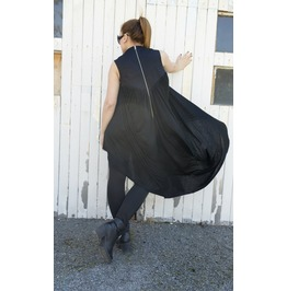 Long Asymmetrical Tunic / Draped Tunic / Zipper Dress / Black Dress