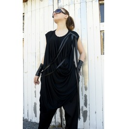 Maxi Fringe Dress/ Loose Dress/ Black Dress/ Long Tunic/ Top Fringes