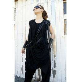Maxi Fringe Dress/ Loose Dress/ Black Dress/ Long Tunic/ Top Fringes