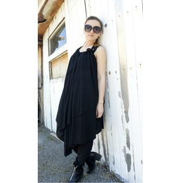 Long Black Vest/ Extravagant Top/ Loose Black Tunic/ Maxi Black Dress