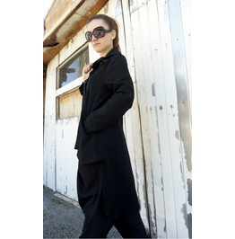 Long Black Shirt/ Asymmetric Woman Shirt/ Loose Tunic/ Long Sleeve Top