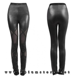 Gothic Punk Alternative Leggings Lace Wet Look Punk Rave