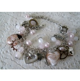 Gear Charm Bracelet, Steampunk Rockabilly Pin Up