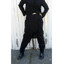 Black Linen Pants / Draped Trousers / Loose Pants / Drop Crotch Pants