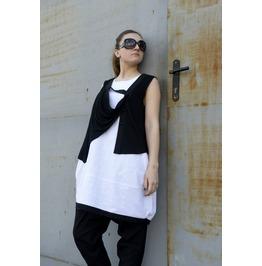 Black White Top / Oversize Tunic / Sleeveless Top / Extravagant Top
