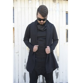 Long Men Vest / Zipper Vest/ Black Vest/ Extravagant Men Top/ Draped Vest