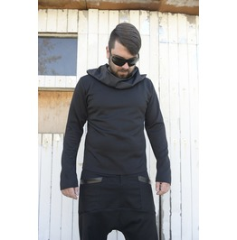Men Black Top/ Extravagant Blouse / Asymmetrical Tunic/ Collar Black Tunic