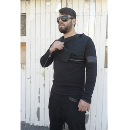Men Tunic Collar / Black Blouse / Long Sleeve Tunic / Leather Design