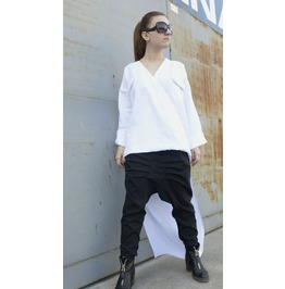 Extravagant White Shirt / Asymmetrical Linen Shirt/ Oversized Long Top