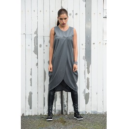 Trendy Grey Loose Casual Tunic/ Asymmetric Long Tunic/ Grey Maxi Tunic