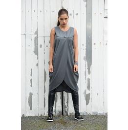 Trendy Grey Loose Casual Tunic/ Asymmetric Long Tunic/ Grey Maxi Tunic