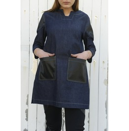 Denim Leather Shirt/ Loose Shirt/ Maxi Shirt/ Oversize Woman Shirt