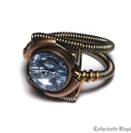 Steampunk Jewelry Ring Aquamarine