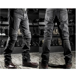 Mens Black/Blue Straight Fit Motorcycle Jeans