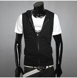 Mens Black/Gray Sleeveless Hoodies
