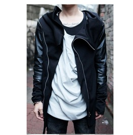 Mens Black Zip Up Leather Sleeve Hoodie
