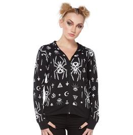 Jawbreaker Women's Spider Skull Occult Hoodie