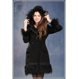 Cute Women Winter Black Lolita Coat Gothic Fashion Long Outwear Jw026