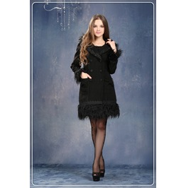 Cute Women Winter Black Lolita Coat Gothic Fashion Long Outwear Jw026