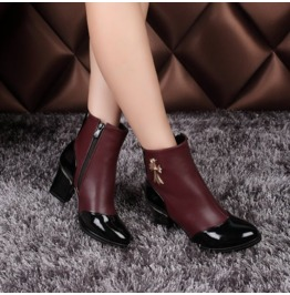 Two Tone Vintage Cross Thick High Heel Boots