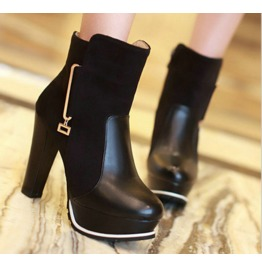 Gold Pin Decor Thick High Heel Boots