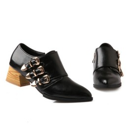 Triple Buckle Straps Chunky Wood Heel Black Boots