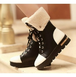 Lace Mid Calf Leopard Head Decor Wedge Boots
