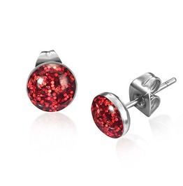 7mm Stainless Steel Faux Red Druzy Crystal Circle Stud Earrings Pair Leb236