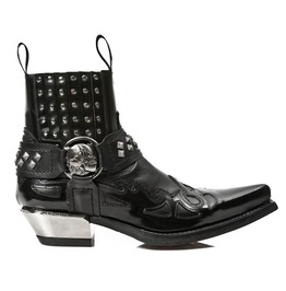 New Rock Black Ankle Western Goth Skull Rockabilly Cowboy Boot 7950