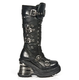 New Rock Black Leather Studded Gothic Punk Fetish Platform Boot 7950 S1