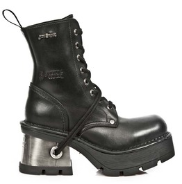 New Rock High Quality Metallic Heel Black Leather Combat Laced Boot 8355