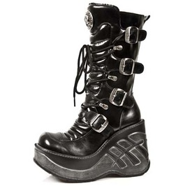 New Rock Sexy Fetish Platform High Quality Buckled Wedge Goth Punk Boot 987