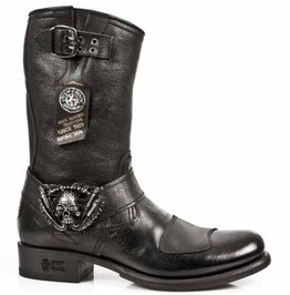 New Rock Biker High Quality Black Leather Custom Motorcycle Boots Gy07