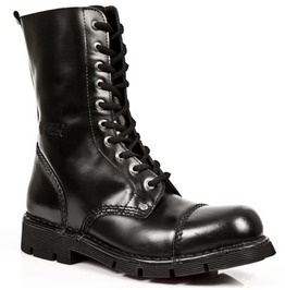 New Rock High Quality Black Leather Combat Military Army Punk Boots Mili10