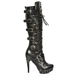 New Rock Black Knee High Stiletto Heel Sexy Fetish Gothic Boots Punk 062