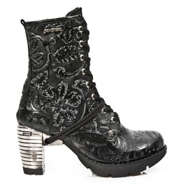 New Rock High Quality Black Flower Steel Heel Goth Boots Tr001 S24