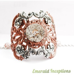 *Sale* Victorian Lace Antique Copper Silver Clockwork Cuff Bracelet Bangle