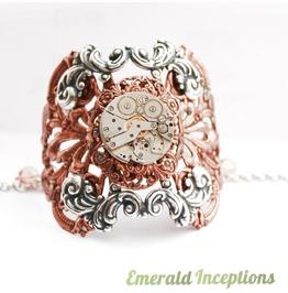 *Sale* Victorian Lace Antique Copper Silver Clockwork Cuff Bracelet Bangle