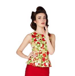 Voodoo Vixen Women's Tutti Frutti Summer Garden Rockabilly Peplum Top
