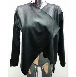 Ladies & Womens Style Waterfall Draper Leather Look Blazer Jacket
