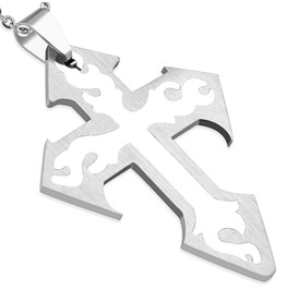 Stainless Steel 2 Part Cut Tribal Cross Pendant Chain Tpb132