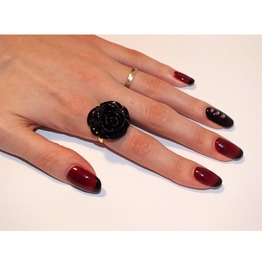 Black Rose Ring, Adjustable Size.